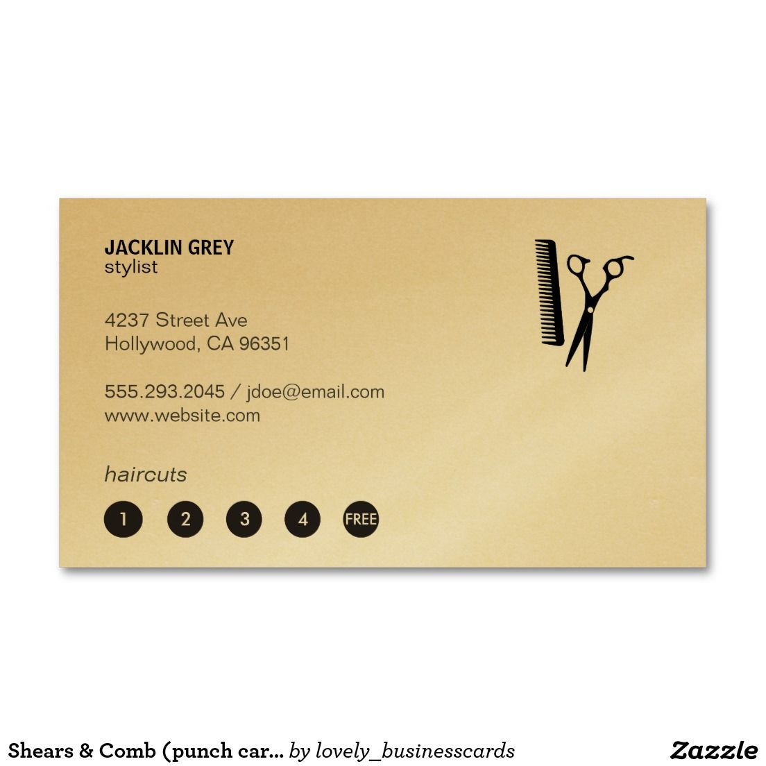 Shears & Comb (punch card 5) Double-Sided Standard Business Cards ...