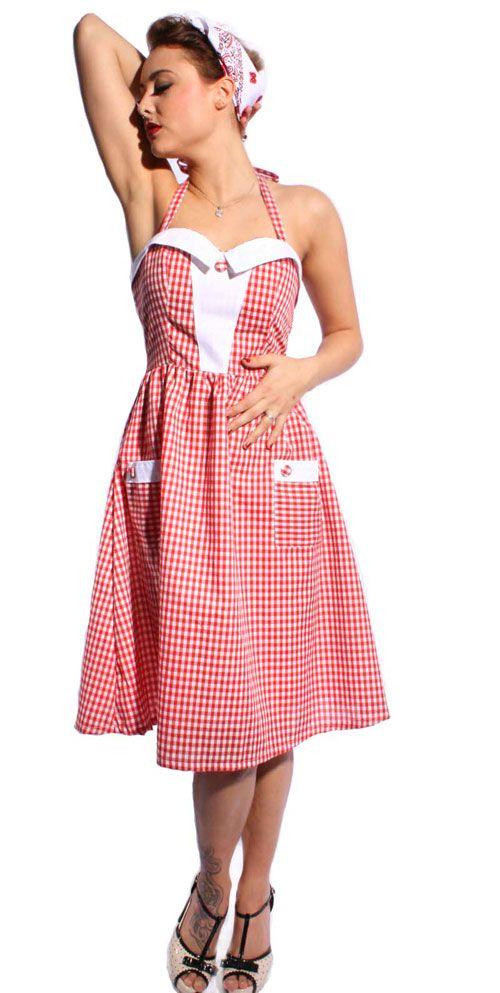 Klassisches 40s Schürzen Look Neckholder Kleid im Gingham Design ...