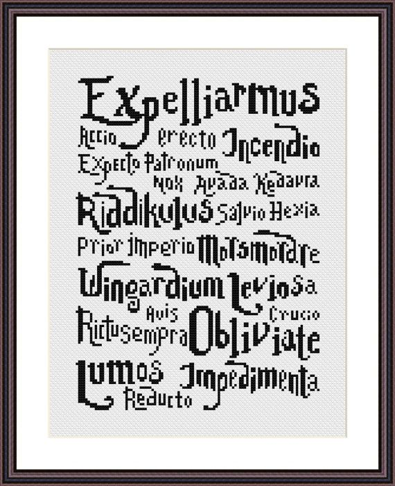 Cross stitch pattern PDF - Harry Potter Spells - Instant Download ...