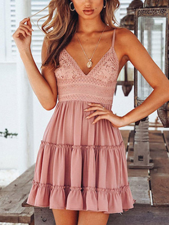 Lace dress roblox  Pink Spaghetti Strap Plunge Lace Panel Open Back Mini Dress  Choies
