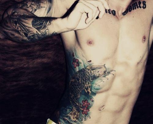 Fish Belly Tattoo  http://www.tattooesque.com/wp-content/uploads/2014/02/Fish-Belly-Tattoo.jpg http://www.tattooesque.com/fish-belly-tattoo/ #BellyTattoos
