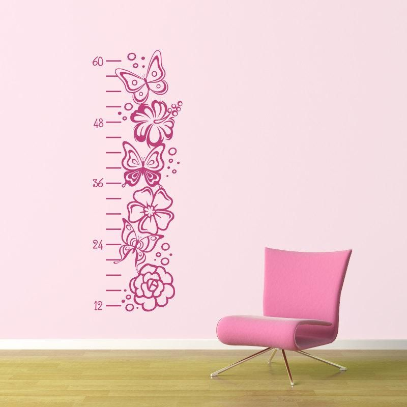 Girl Growth Chart Decal Butterfly Growth Chart Flower Wall Decal