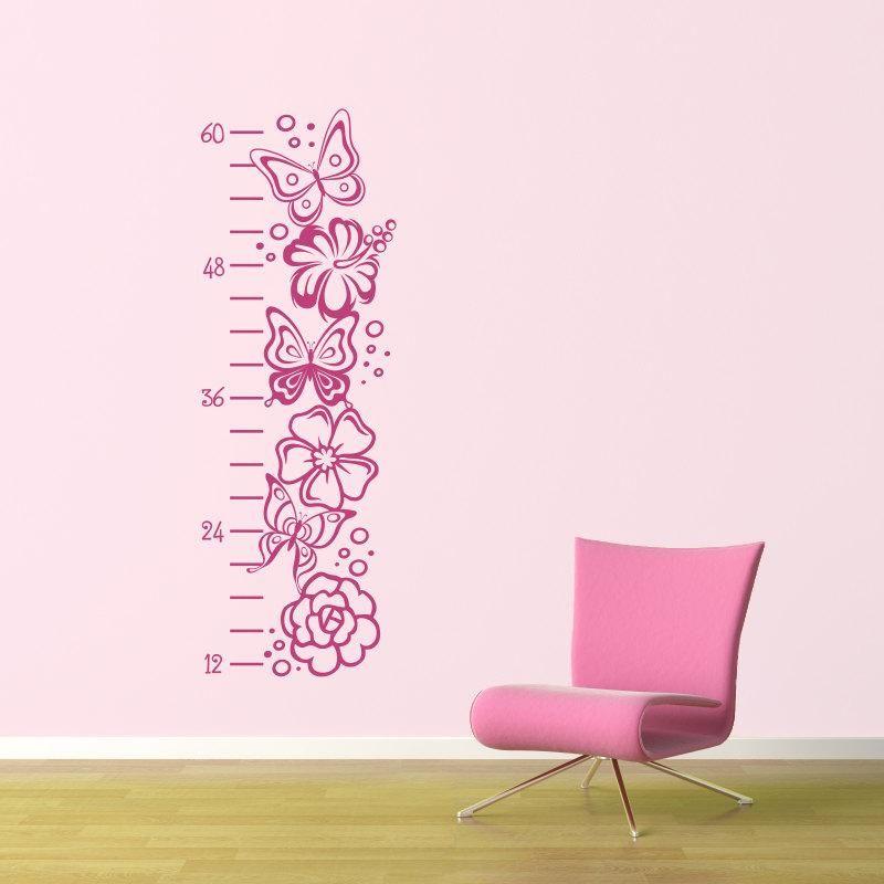 Girl growth chart decal butterfly flower wall decor also rh pinterest