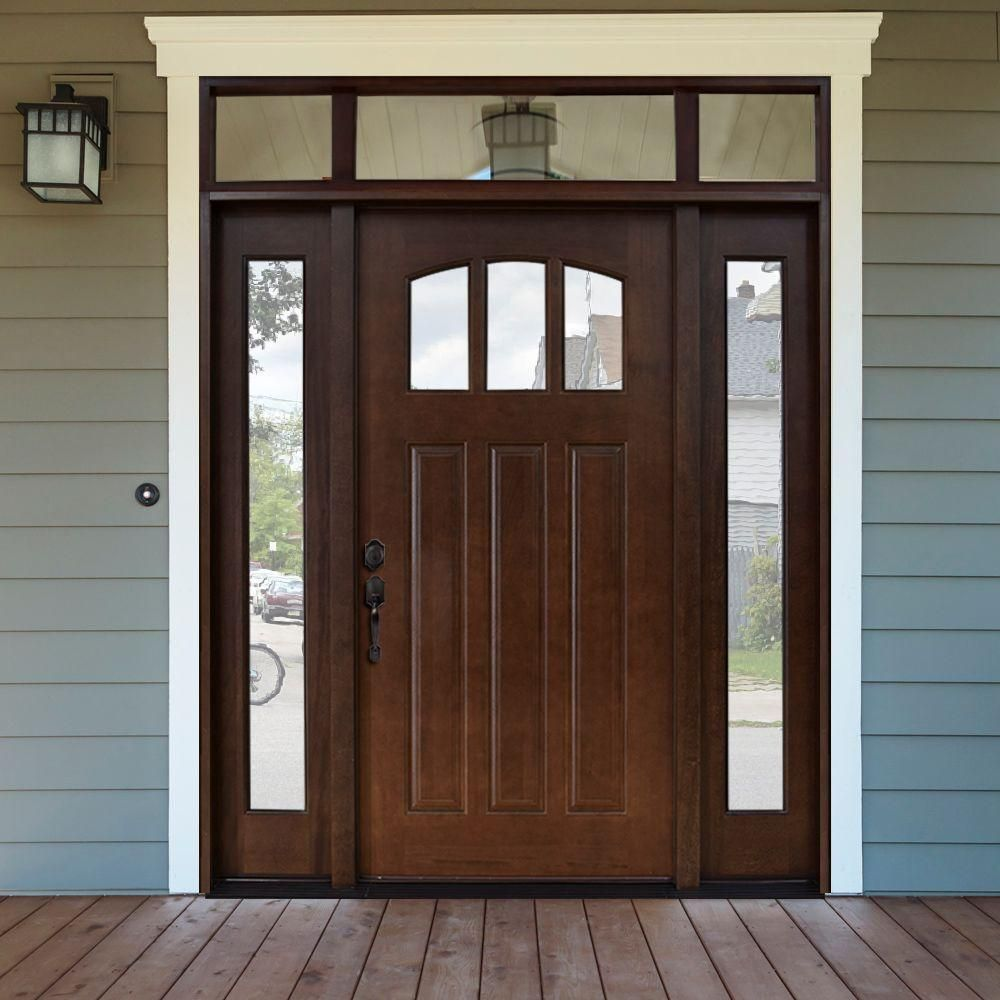 Exterior front doors with sidelights - Craftsman 3 Lite Arch Stained Mahogany Wood Prehung Front Door With Sidelites And Transom Hickory