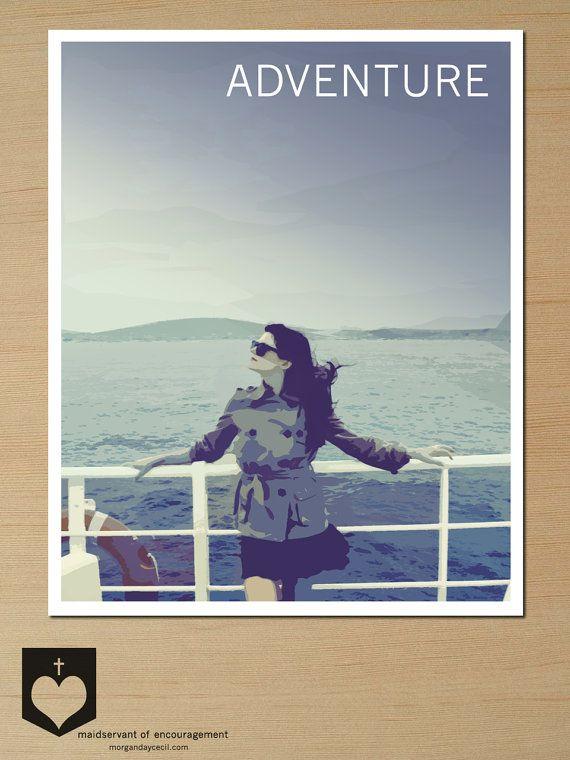 Travel Poster Art Printable Grad Gift Sailing by MaidservantOf