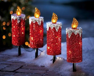 Red Glitter Holiday Candle Outdoor Christmas Path Lights from Collections  Etc. - Red Glitter Holiday Candle Outdoor Christmas Path Lights From