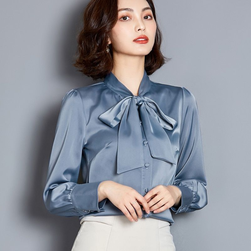 Korean Silk Women Blouses Women Satin Blouse Shirts Plus Size Office Lady Solid Long Sleeve Shirt In 2020 Blouses For Women Satin Blouse Shirts Long Sleeve Shirt Tops