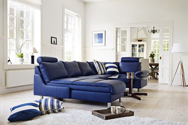 Chesterfield Sofa Navy blue leather sectional from Ekornes Stressless at Denmark Interiors