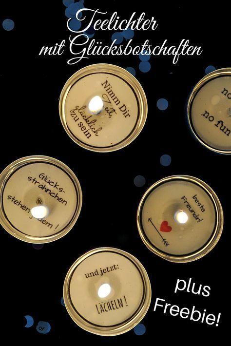 DIY: Teelichter mit Glücksbotschaft + Freebie - Smillas Wohngefühl