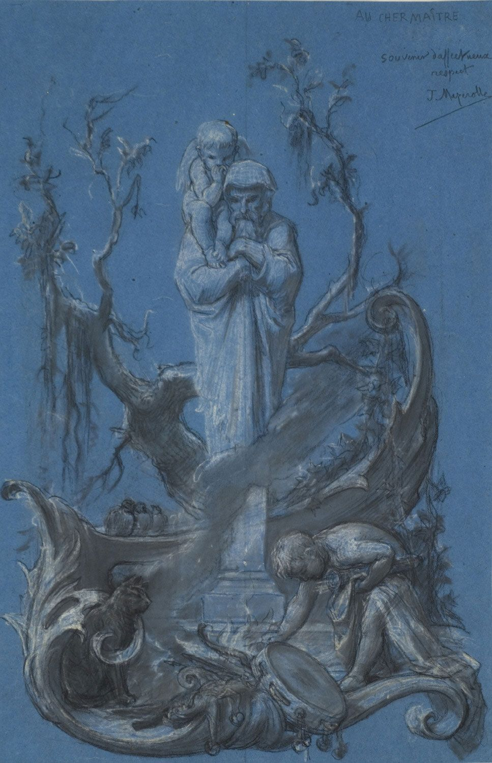 An Allegory of Winter by Alexis Joseph Mazerolle,  19th C. / Black and white chalks on blue wove paper