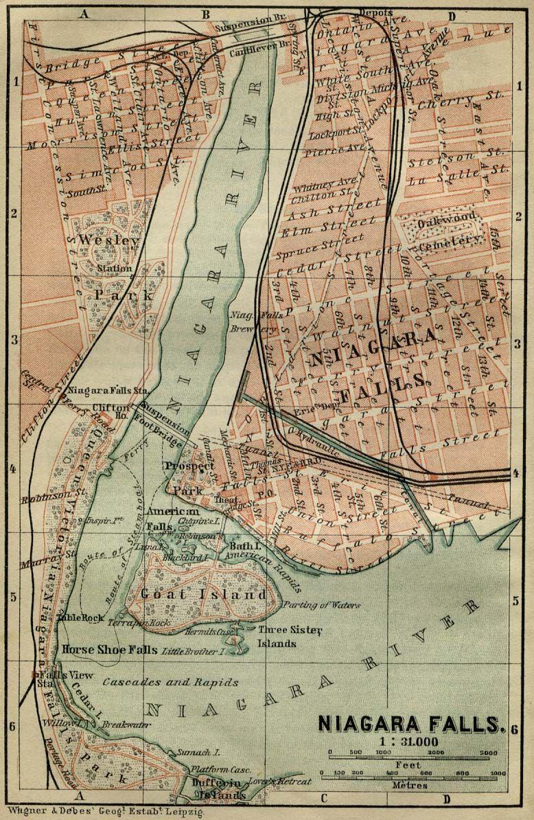 Antique Map Of Niagara Falls From 1894 Niagara Falls New