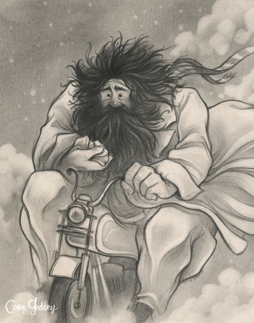 Interprétation Hagrid par l'artiste Cory Codbey. Tiré d'un article de The Mary Sue où vous pouvez voir ses illustrations de The Hobbit, Super Mario ...
