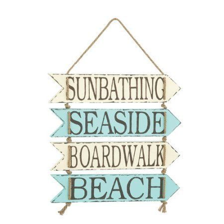 Decmode Metal Rope Beach Wall Sign, Multi Color, Multicolor