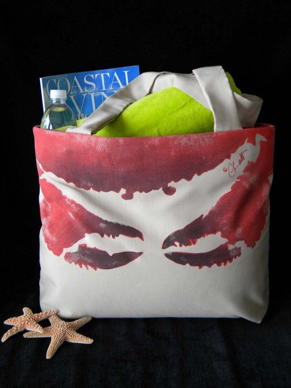Etsy Crab Beach Bag