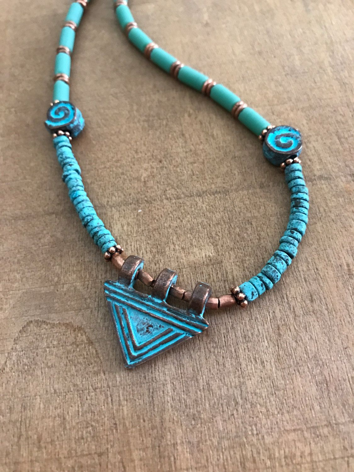 Ancient style, tribal necklace, Greek beaded necklace, blue patina, copper and glass beads by Omanie on Etsy