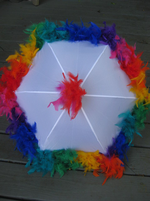 Rainbow Second Line Umbrella On Black Festival Parasol Jazz Fest