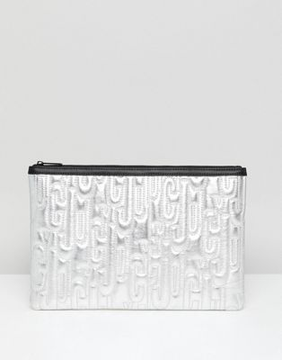 Juicy By Juicy Couture Metallic Embossed Logo Clutch Bag - Silver Juicy Couture h6waCviW