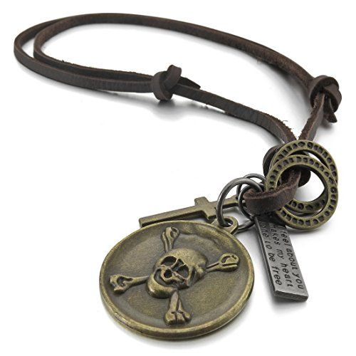 Men's Alloy Genuine Leather Pendant Necklace Silver Brown Gold Cross Pirate Skull Round Cord Ring Vintage Biker Adjustable 16~26 Inch Chain INBLUE http://www.amazon.com/dp/B00LMYYP5Y/ref=cm_sw_r_pi_dp_NzhIvb0GGVD8A