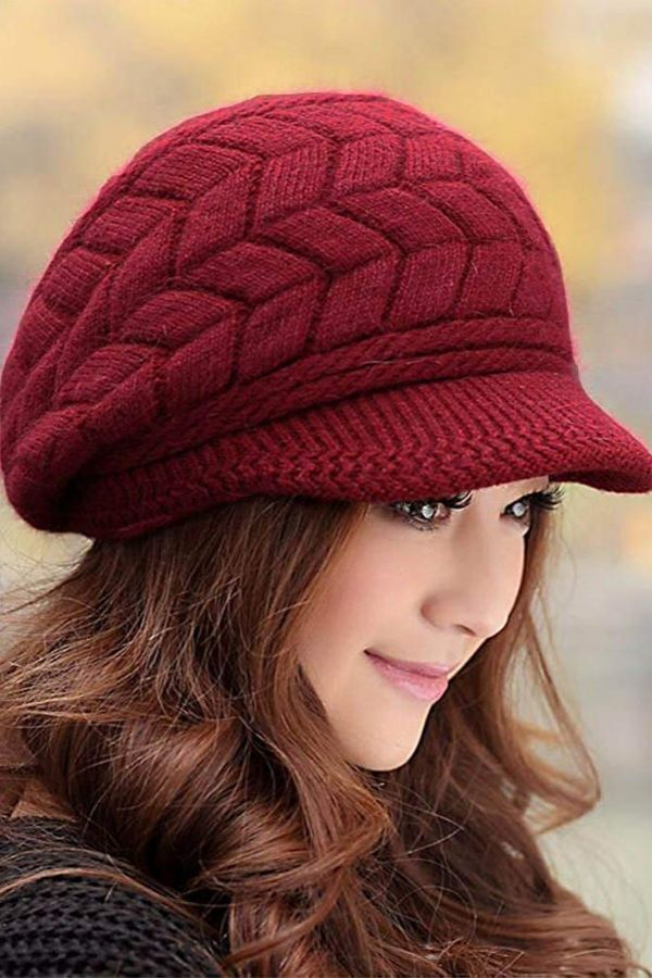 Trendy Knitted Womens Winter Hat With Visor So Cute For Chilly Weather Skitrip Winter Coldweather Beanie Winter Hats For Women Knitted Hats Stylish Hats