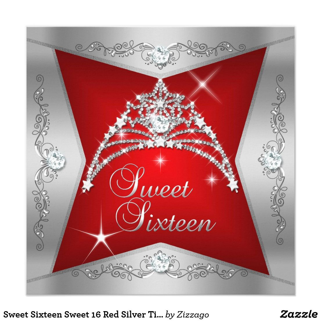 Sweet Sixteen Sweet 16 Red Silver Tiara Invitation Zazzle