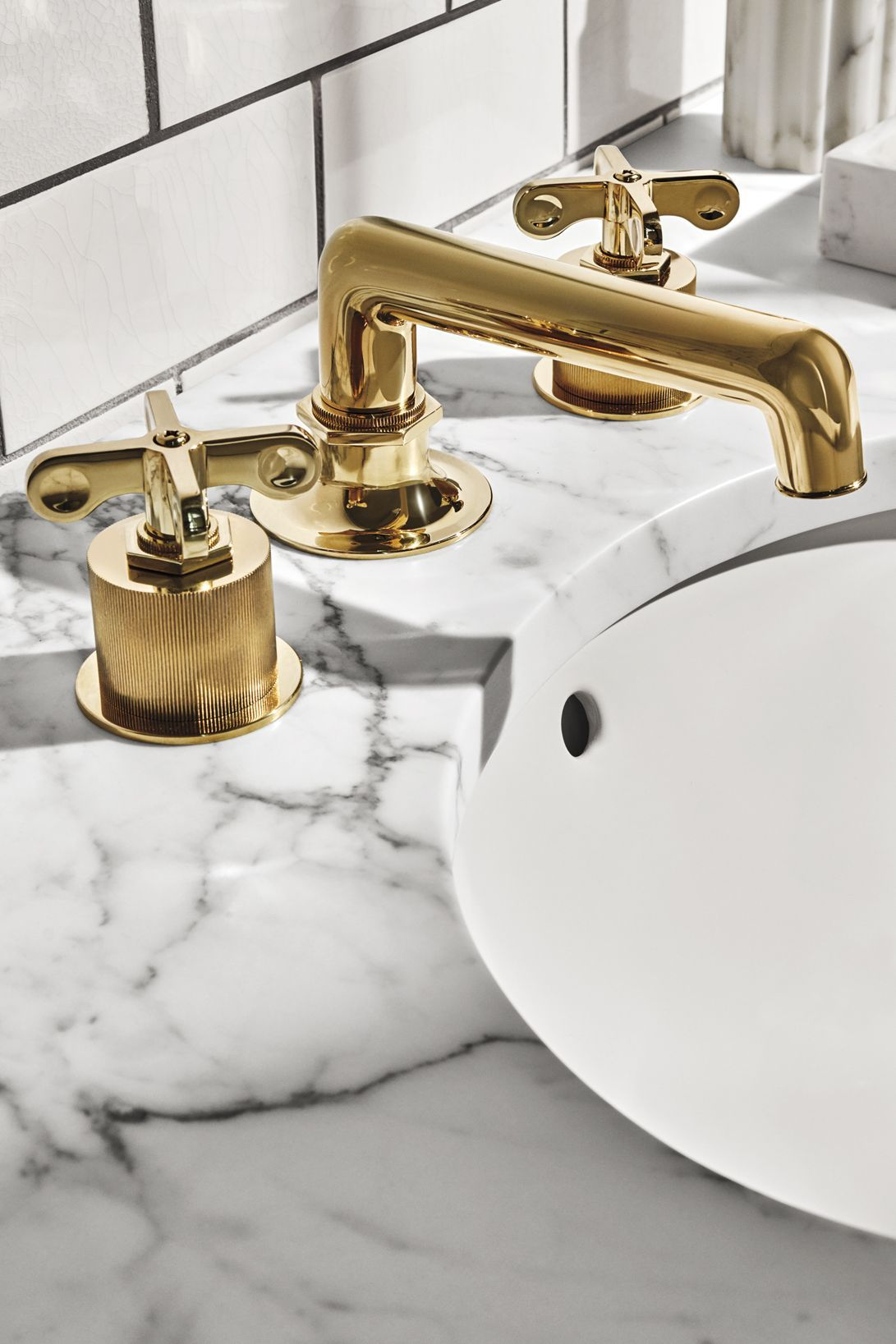 Henry Low Profile Three Hole Deck Mounted Lavatory Faucet