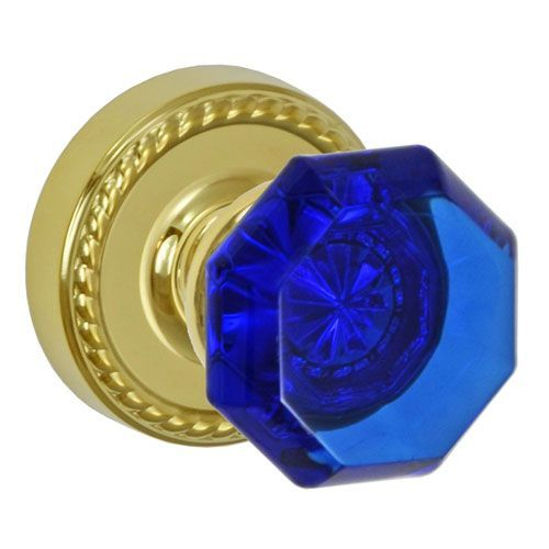 Elite PVD Brass Victorian Cobalt Glass Door Knob Privacy Set with Rope Rose