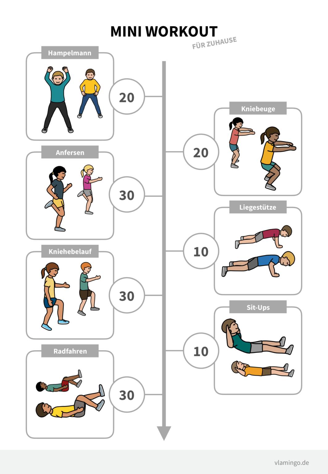 Mini-Workout (für Zuhause, zwischendurch und für Lernpausen)