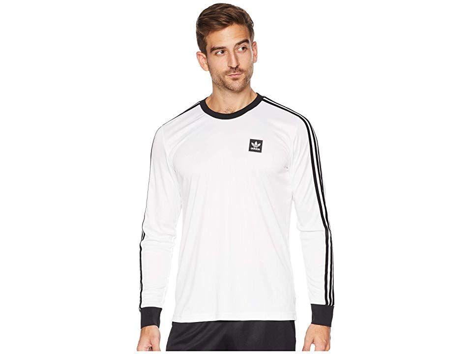 online retailer 66141 56f3c adidas Skateboarding Long Sleeve Club Jersey (White Black) Men s Long Sleeve  Pullover.