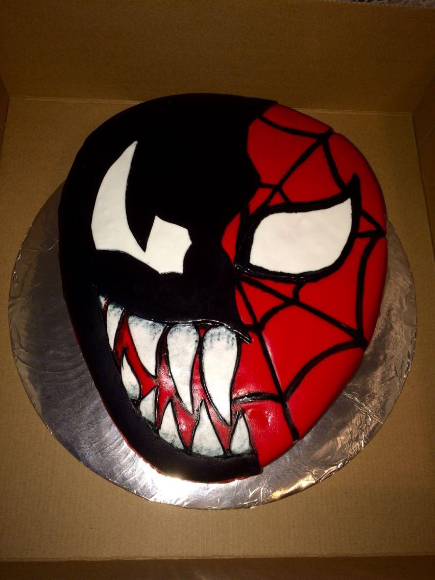 Spiderman And Venom Cake