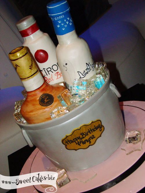 Sculpted Ice Bucket Cake With Rice Cereal Bottles Of Ciroc Grey Beauteous Liquor Bottle Cake Decorations