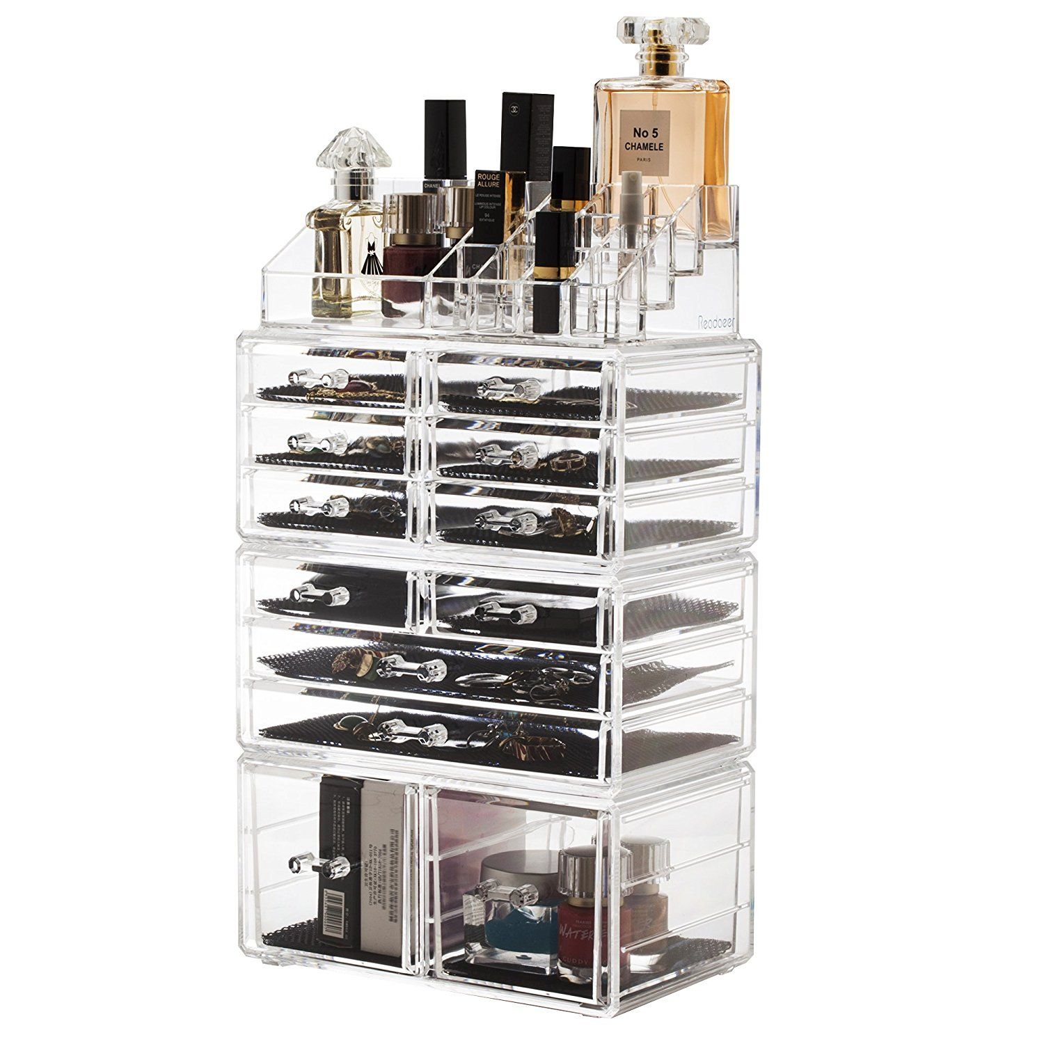Readaeer Acrylic Makeup Cosmetic Organizer Storage Drawers Display ...