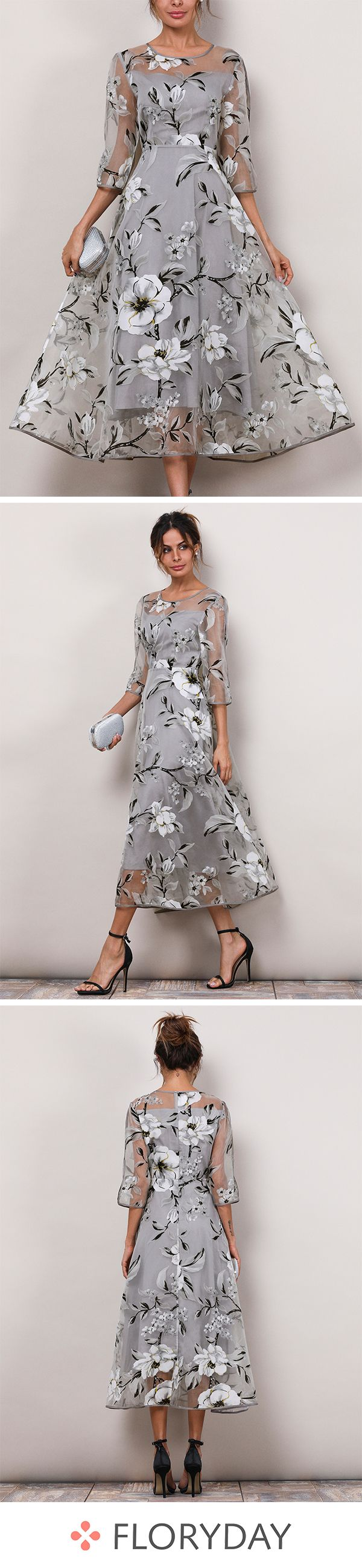 Floral 3/4 Sleeves Midi X-line Dress #groomdress