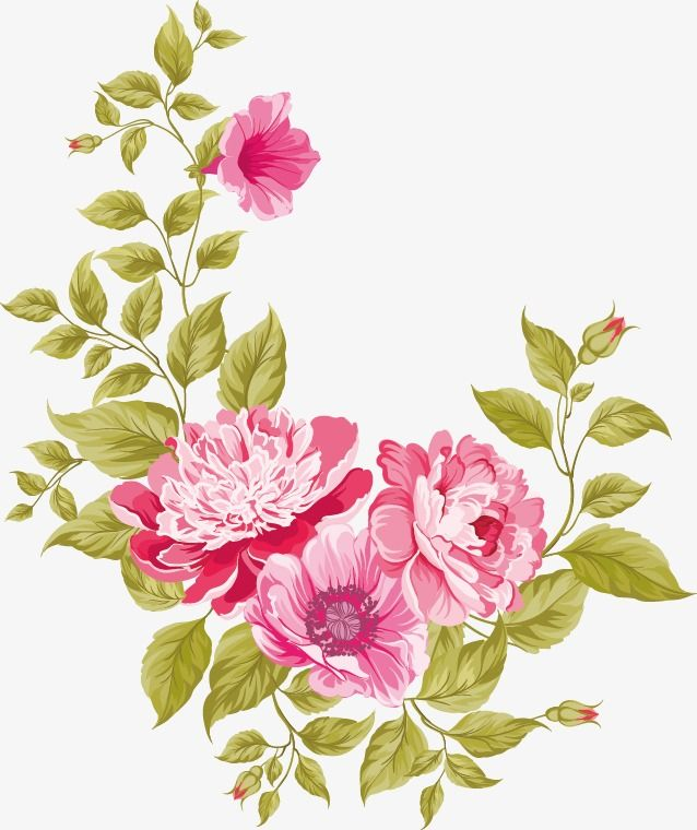 Flowers Vector Material Green Flower Png Transparent Clipart Image And Psd File For Free Download Vector Flowers Flower Art Vintage Flowers