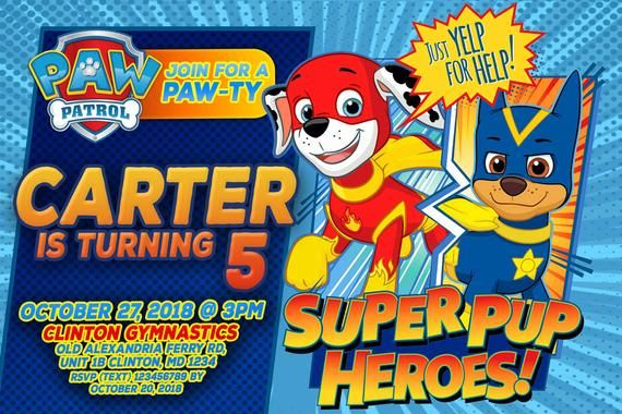 89203a9e Paw patrol mighty pups Invitation Birthday party With - Paw Patrol Party  Nick Jr - Chase Skye Everes