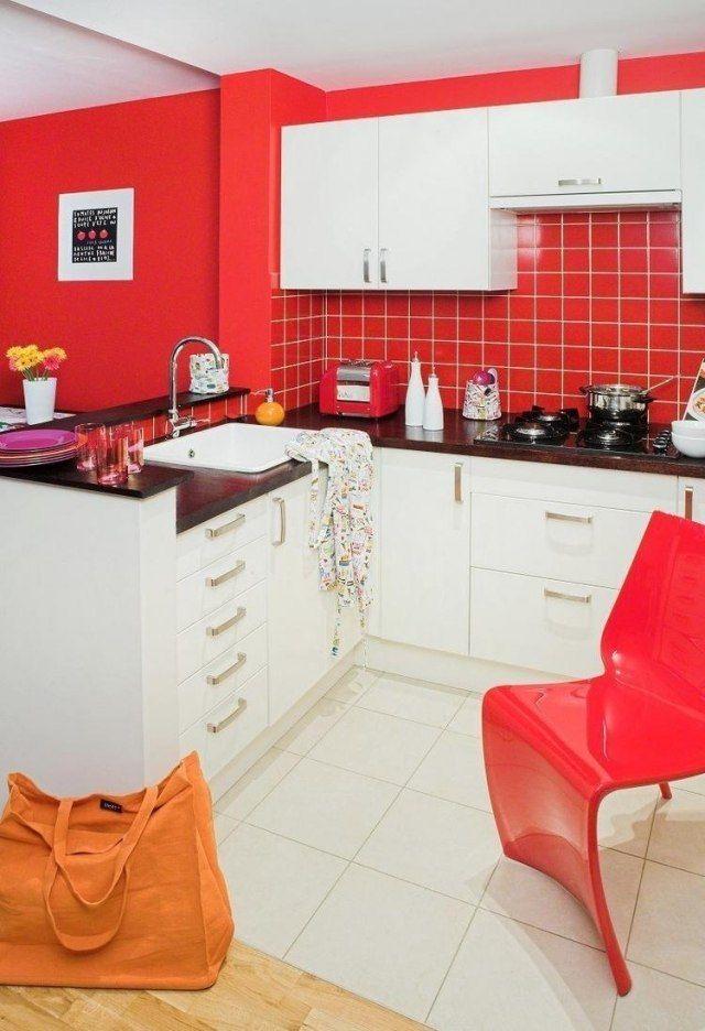 Wandfarbe Weiße Küche Idee Rot Schwarze Arbeitsplatte