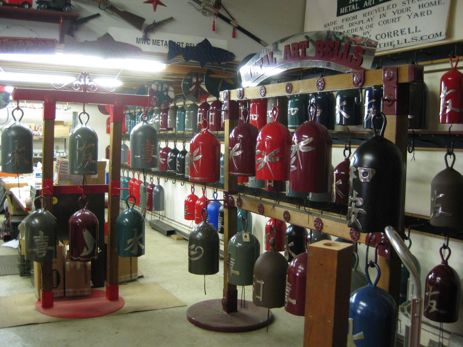 Lots of garden bells at metal art bells studio in