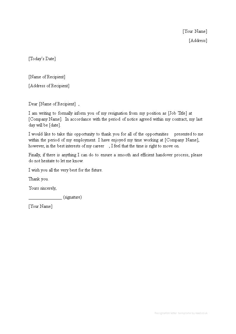 Editable Internship Resignation Letter