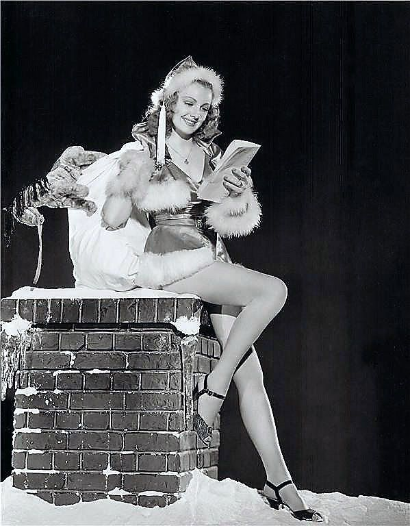 Vintage Lovely Santa on Chimney Pin Up Beauty! Is that a stuffed ...
