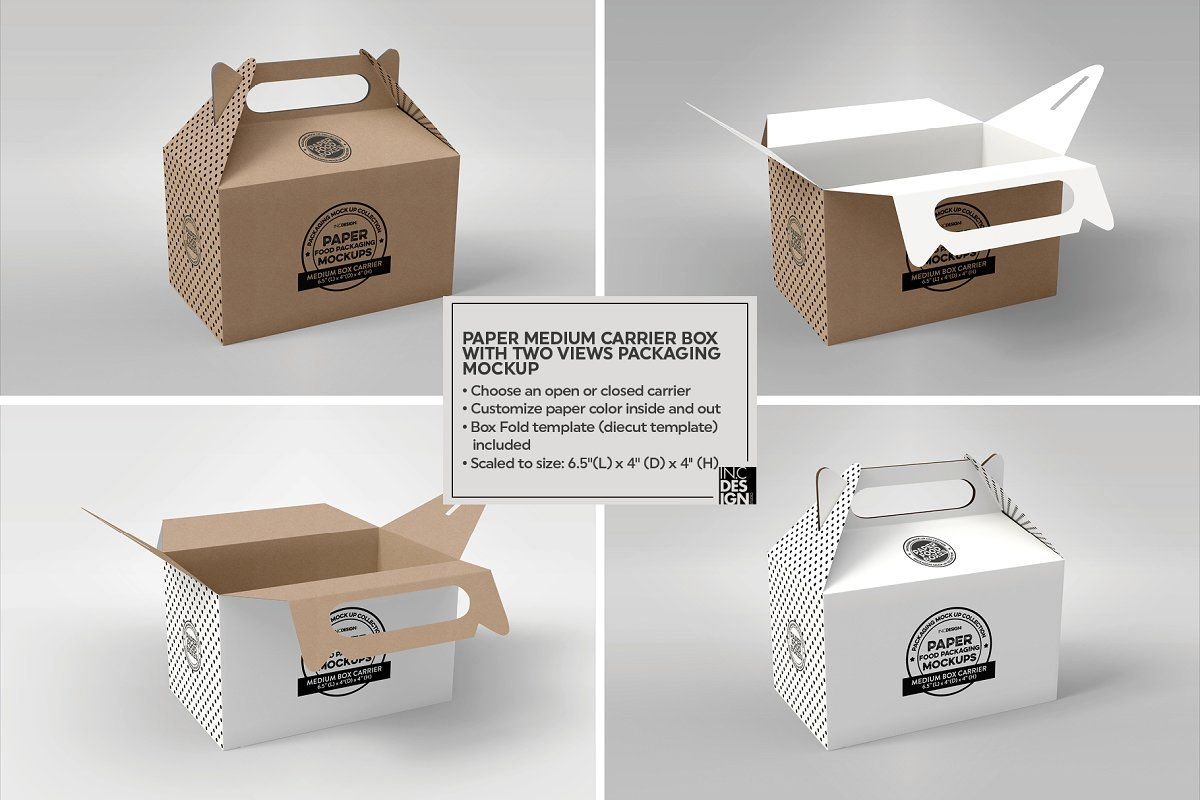 Download Medium Box Carrier Packaging Mockup Food Box Packaging Packaging Mockup Packaging