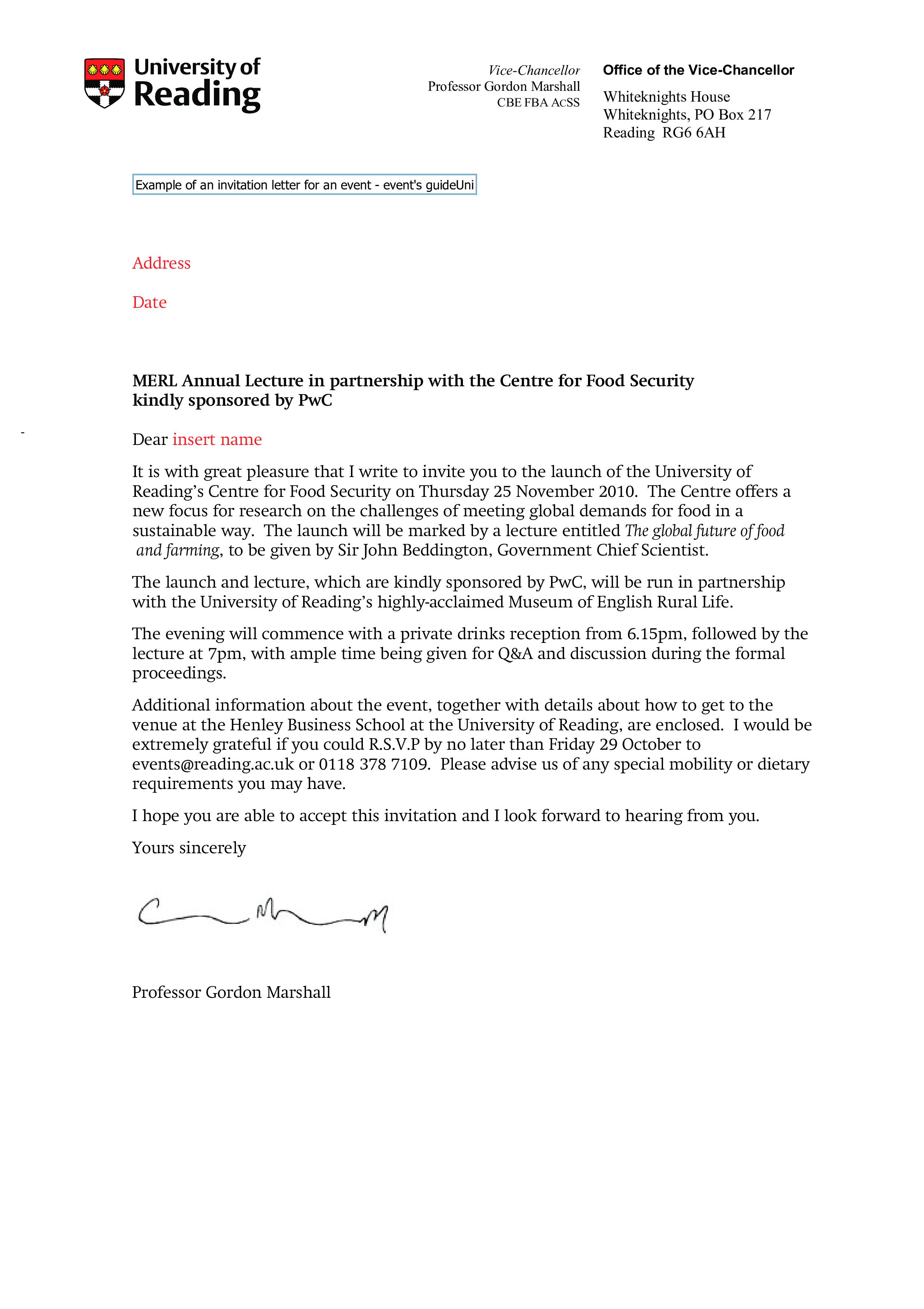 Formal Invitation Letter Sample For An Event