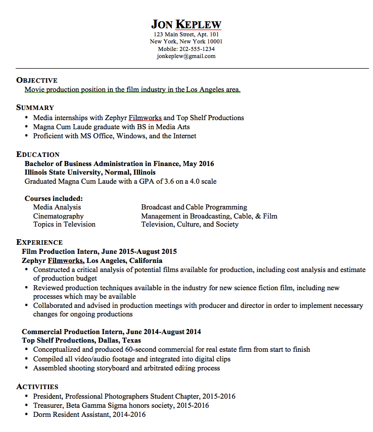 movie production resume samples    exampleresumecv