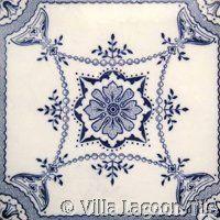 Victorian Transferware  #96 ceramic accent tile from Villa Lagoon Tile