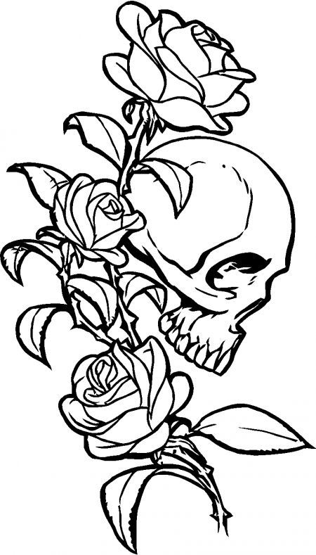 without the skull with names - Coloring Pages Roses Skulls