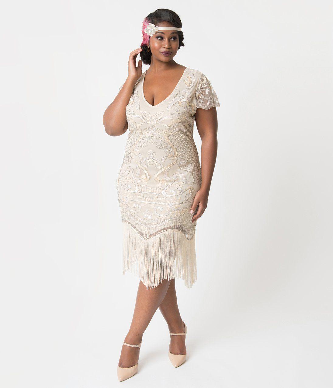 Unique Vintage Plus Size 1920s Style Champagne Beaded Fringe Aurore Fl Dresses 1920s Fashion 1920s Fashion Dresses [ 1275 x 1095 Pixel ]