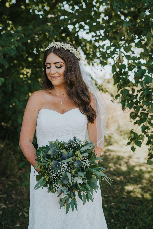 Stunning Bridal Portrait Of Smiling Boho Bride Gold Natural