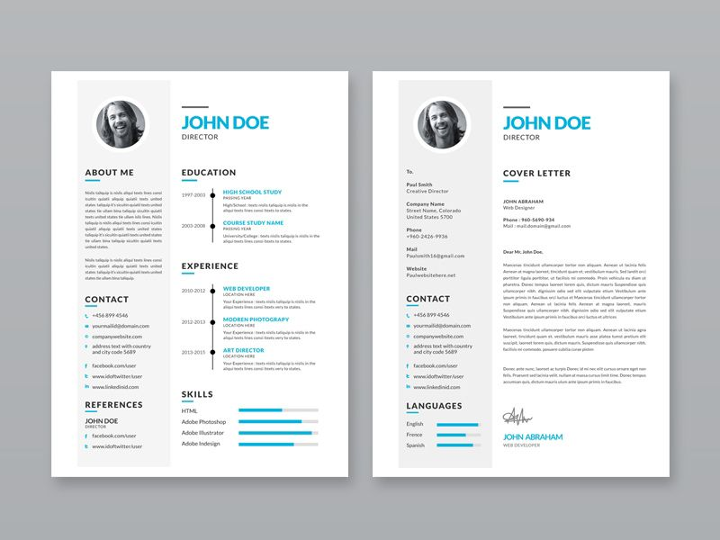 Free Simple Resume Template with Portfolio and Cover Letter Free