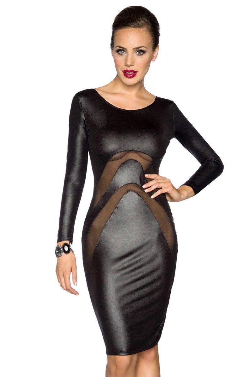 trendiges Kleid in Wetlook-Optik   FashionMoon.de   Pinterest ...