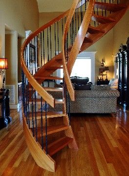 Best Solid Cherry Spiral Stair With No Center Post Custom 640 x 480