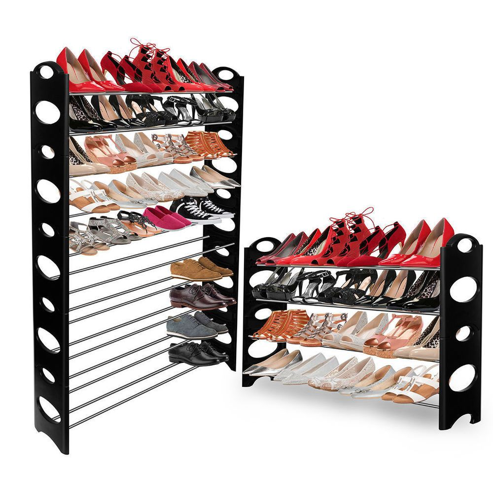 Shoe storage rack organizer pair closet tower space saver shelves
