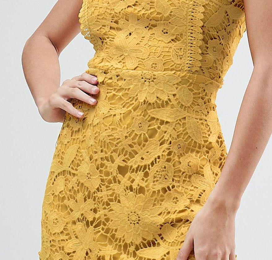 Boohoo Exclusive Bib Detail Lace Midi Dress Váy Ren Lace